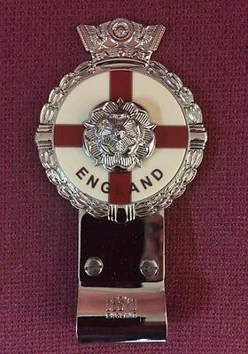 Royale Heavy Chromed Brass Car Badge - ENGLAND TUDOR ROSE + Desmo Clip - B6.001