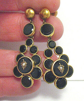 Victorian Gold Filled Black Jet Pierced Earrings Dangle 6.9 Grams