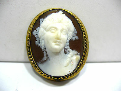 Antique Gold Cameo Pin Brooch 30 X 35 Mm