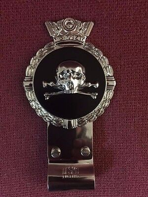 Royale Heavy Chromed Brass Car Badge - SKULL & CROSS BONES + Desmo Clip - B6.002