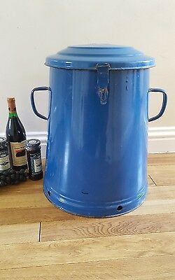 Medium blue enamel vintage storage distressed  industrial bread bin olive pot