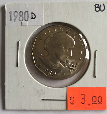 1980 Susan B Anthony US Dollar Coin D in BRILLIANT UNCIRCULATED (BU) Condition