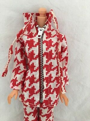 Vintage Barbie Doll Knock Off Clone Outfit RED & WHITE HOUNDSTOOTH JACKET Pants