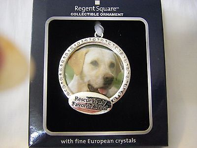 """Collectible Ornament Pet Photo """"rescue Is My Favorite Breed"""" W/ Fine Crystals"""