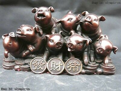 9' Chinese red copper carved finely lucky money eight pigs Sculpture Statue