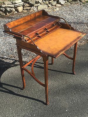 Antique Vintage Spinet  Flip Top Wood Leather Top Campaign Writing Table Desk