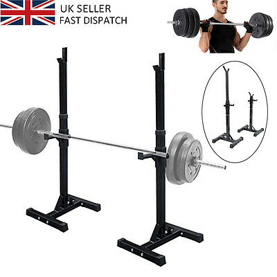 2PCS Heavy Duty Adjust Gym Squat Barbell Power Rack Press Weight Bench UK SELLER
