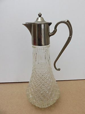 Glass Claret Jug Wine Decanter Silver Plated Mount Pitcher