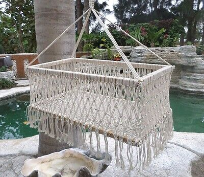 Mexican Hanging Baby Bassinet Swing Crib Cradle Bed Macrame Hammock Natural