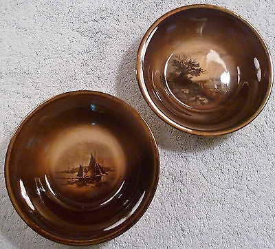 2 antique Ridgway Royal Vistas Ware sepia amber brown small bowls with gold trim