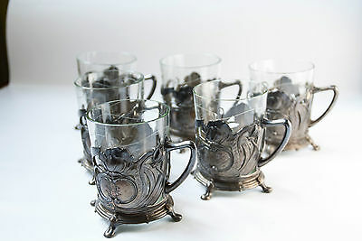 Anituqe Glass Holders Set, Silver Plated Alpaca, Art Nouveau 19th Century