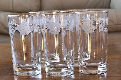 5 Vintage Libbey Glasses with White Grape Leaves w/ Gold accents  Rare
