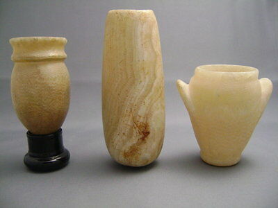 Three Ancient Egyptian Alabaster Vessels  – Ex. Gustave Jequier (1868-1946)