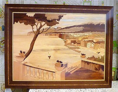 Notturno Italian Inlaid Wood Art Plaque Woodworking Carved Inlay Picture Coast