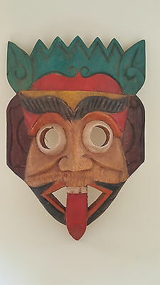 Colourful carved wood vintage Art Deco antique Central America face mask