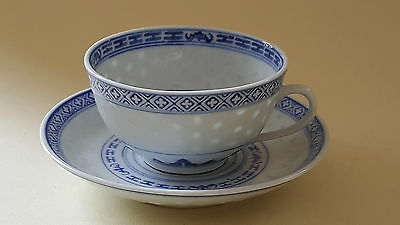 Chinese blue & white vintage Art Deco oriental antique cup & saucer duo