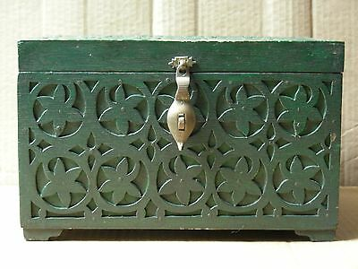Antique Large Hand Carved Dark Green Wood Box With Secret Compartment Access