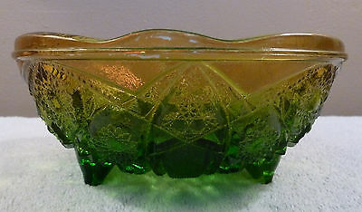 Vintage Jeannette HOBSTAR green amber flashed three-toed textured glass bowl