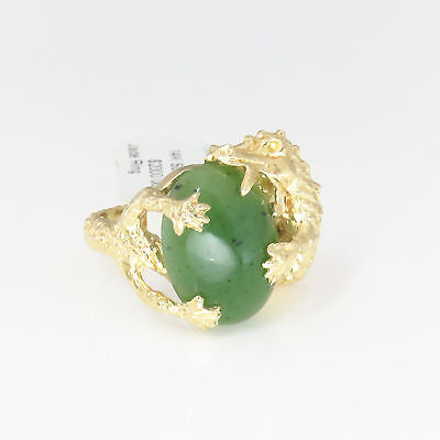 NYJEWEL 14k Solid Gold Modern China Style A Jade Dragon Ring $2000.00