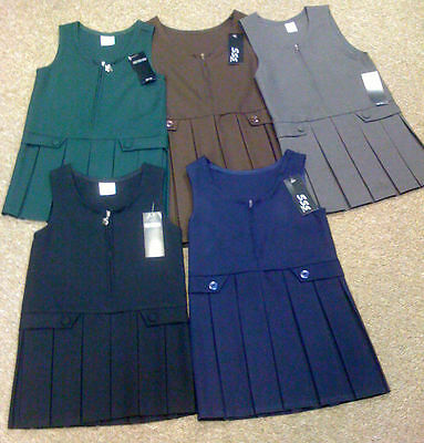 GIRLS kids  2 BUTTON  FRONT ZIP BOX PLEATED SCHOOL PINAFORE  DRESS 2 to 16 years