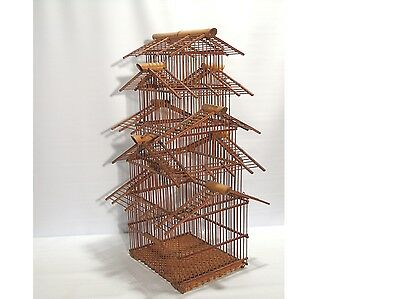 Vintage Cane Bamboo Bird Cage Asian Oriental wicker