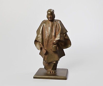 Japanese Bronze / Copper alloy Noh Actor Okimono Statue Sculpture by MIURA WAKO
