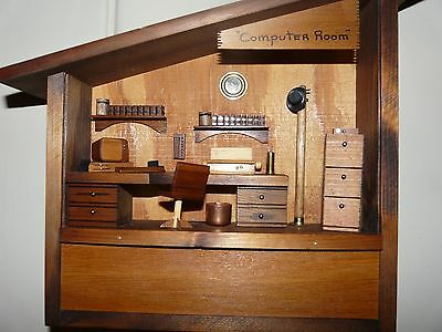 "Vintage signed dated Folk Art Wood retro ""computer room"" diorama"