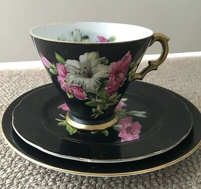 Collectible Cup, Saucer & Cake Plate - Black / White / Violet  Saji Fine China