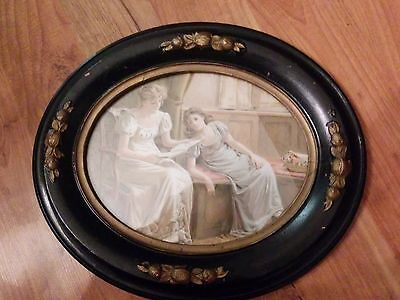 Antique Victorian Oval Painted Wooden Frame with Victorian print