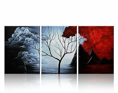 Picture Wall Decor Oil Painting Framed On Canvas Set Of 3 Landscape Modern Art