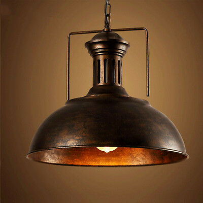Antique Rustic Iron Vintage Barn Ceiling Lamp Industrial Pendant Indoor Light