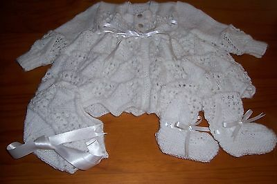 White Pyramid And Lace Baby Layette { Hand Knitted }