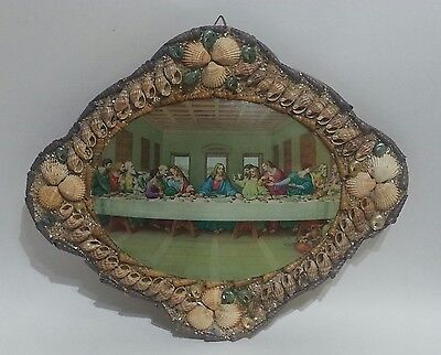 Folk art Last Supper Shell Frame Domed glass Mounted on solid wood board