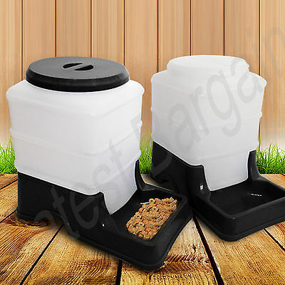2 x Pet Auto Feeder Waterer Dispenser Automatic Cat Dog Bowl Self Feeding Black