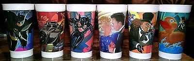 Batman Returns McDonald's Cups Lot Complete Set of 6 Coca Cola 1992