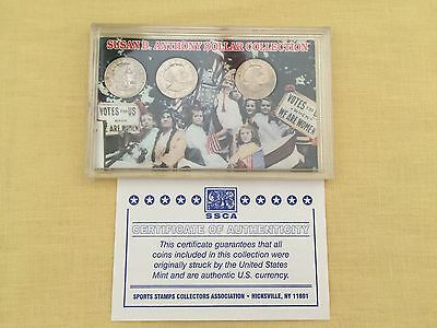 1979 Susan B Anthony Dollar Collection ( 3-Coins ) COA