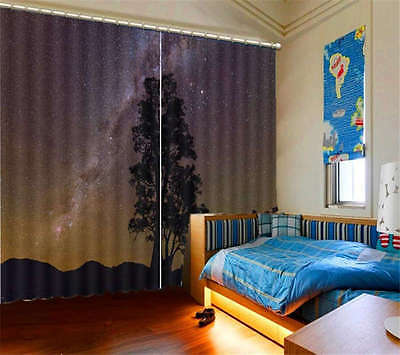 Tree Under Milky Way Night 3D Blockout Photo Printing Curtain Drap Fabric Window