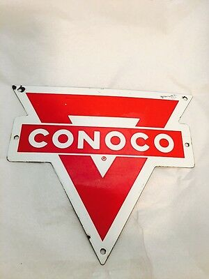 Original Porcelain Conoco Oil Rack Sign Gas Station Old Pump Plate