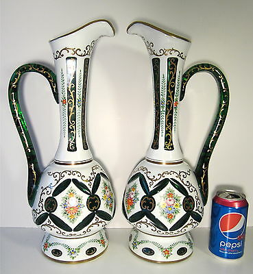 """Pair HUGE 17"""" CZECH Moser Art Glass Cut Overlay Mantle Ewer Candle Lamps Vases"""