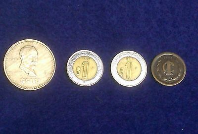 (4) Lot of Mexican Coin Currency **$500 Pesos--$1 Pesos**