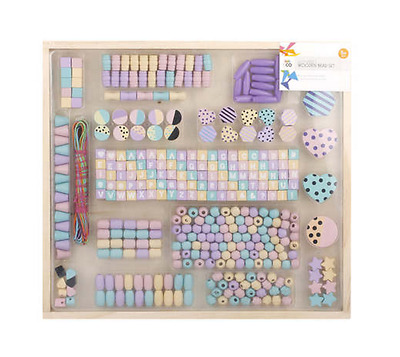 Wooden Bead Set Kit Alphabet Necklace Bracelet Jewelry Kids Girls Craft Gift
