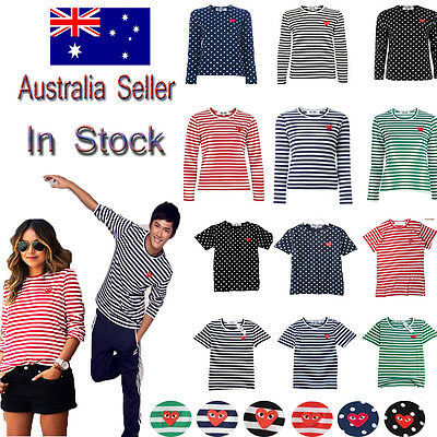 %ORIGINAL CDG COMME DES GARCONS PLAY Red Stripe STRIPED LONG SLEEVE Dot T-SHIRT