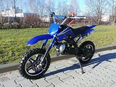 Dirt Bike 49cc 3,5 PS Dirtbike Cross Crossbike Pocketbike Pocket Motorrad blau