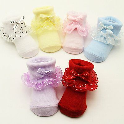 Girl Kids Newborn Baby Socks Ruffle Frilly Bowknot Non-slip Cotton Ankle Socks