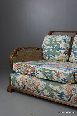 Vintage Early 20th Century Bergere 3 Seater Sofa