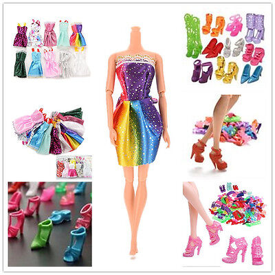 10/20 Handmade Party Clothes Dresses + 10 Shoes for Barbie Doll Mixed Charm