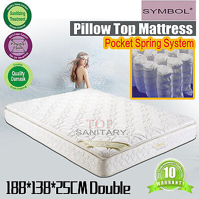 Double Size Pillow Top Layers Mattress Bonnell Spring System Beddings 203x107cm
