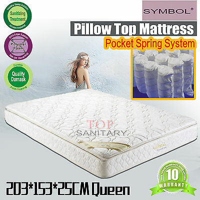 Queen Size Pillow Top Mattresses Beddings 25cm THICKNESS Bonnell Spring System