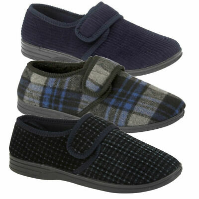 Mens Comfy Wide Opening Fit Diabetic Orthopaedic House Shoes Hard Sole Slippers