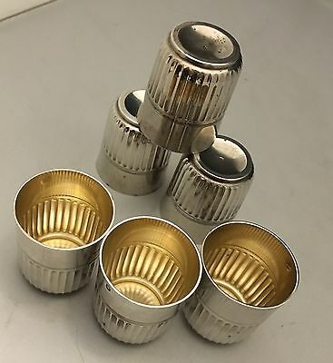 RARE Set of 6 French Sterling Silver Gold Wash Shot Glasses by Hènin & Cie.-L598